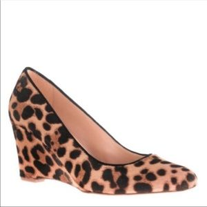 J. Crew Collection Martina Leopard Cal Fur Wedges